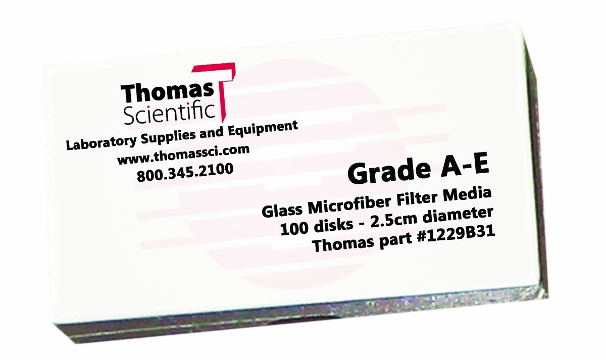 Thomas AE1100 Borosilicate Glass Microfiber Filter 1 Micron Fast Flow Grade A E 11cm Diameter Pack of 100