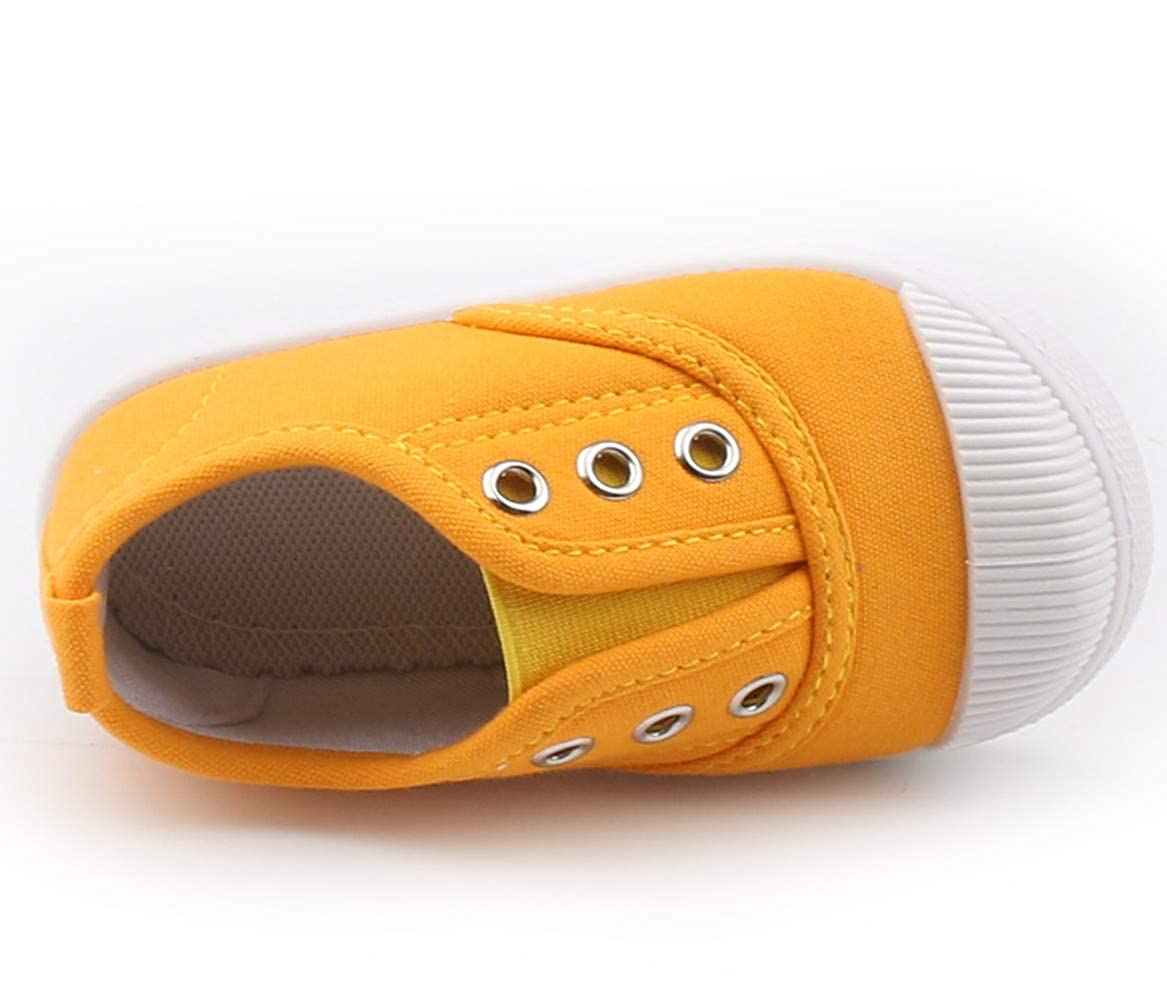 DADAWEN Boys Girls Candy Color Canvas Slip-On Lightweight Sneakers Cute Casual Running Shoes