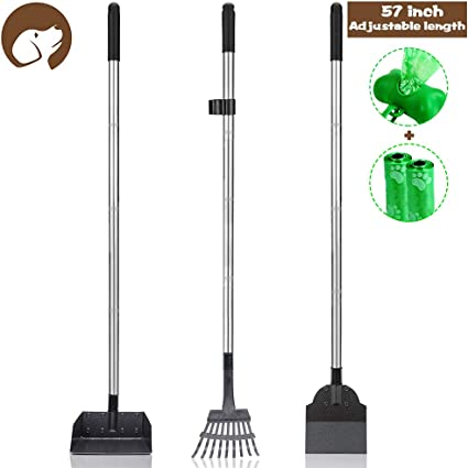 Dog Pooper Scooper Set Bonus 2 bags and hold bag No Bending Clean Up for Large and Small Dog - 3 Pack Adjustable 57.1 Inches Long Handle Metal Tray Rake and Spade Poop Scoop for Waste Removal