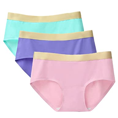 aa5de991913c ARONAS Women's Seamless Underwear 3 Pack Mid High Waist Plus Size  Comfortable Briefs Hipster Panties