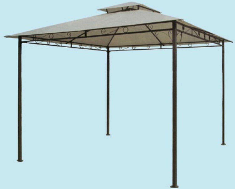 Cenador de acero para jardín, modelo Haití, de 300 cm x 300 cm x 270 cm de alto