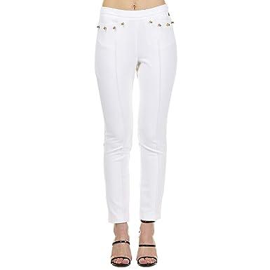 118695b1893 Versace Collection Femme G34769BG604492G1001 Blanc Coton Pantalon ...