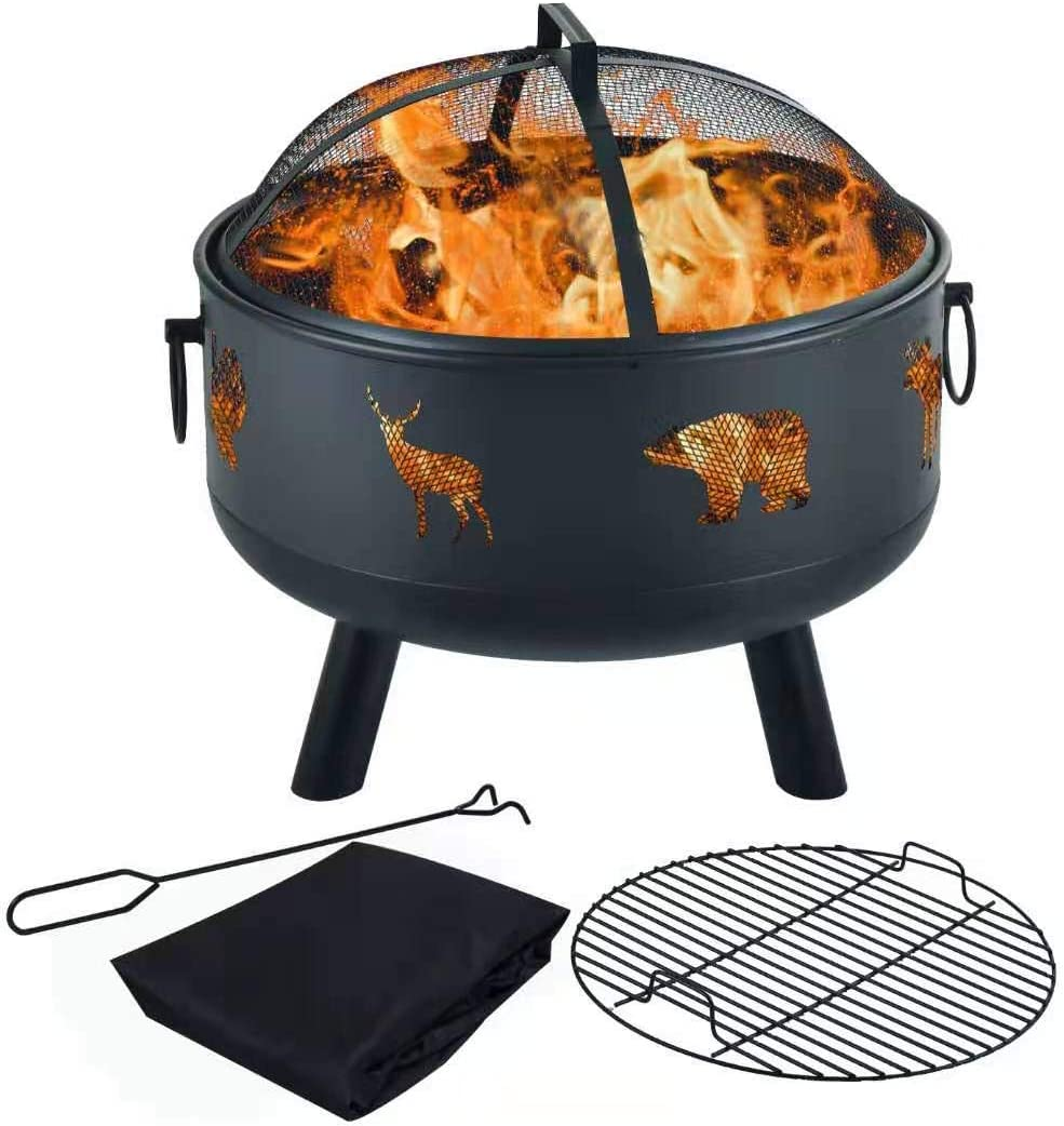 Amazon Com Y Me Wood Burning Fire Pit Outdoor Patio Campfire Backyard Fireplace Round Steel Deep Bowl Fire Pit 24 Inch Garden Outdoor