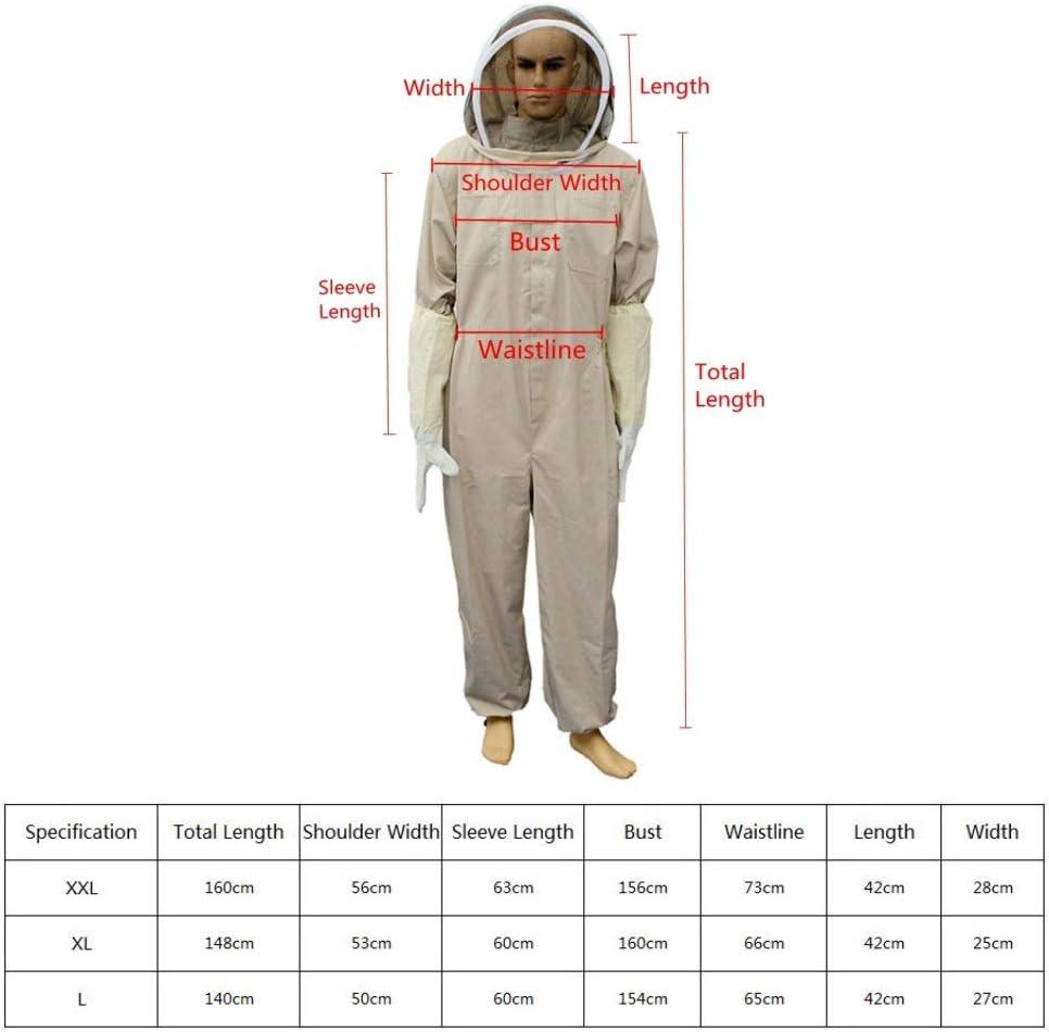 XXL CLIUS Tuta Apicoltore Sicurezza Professionale Apiario Ape da Giardino Completo da Giardino con Guanto Velo Cappuccio Ventilato Full Body Farm Abbigliamento Protettivo Unisex