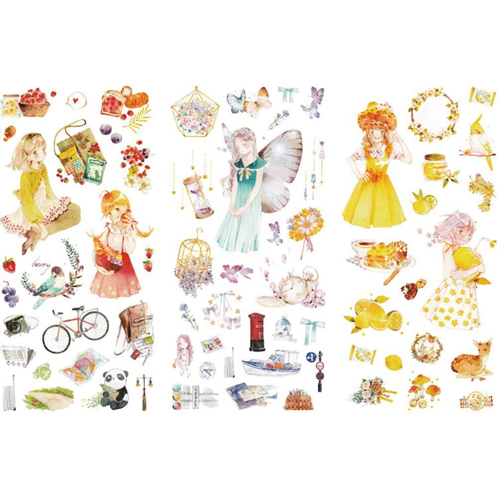 Lumanuby. 1 x Conjunto(3 Hojas) Pegatinas de la Pintada Decal Pegatinas Paquete de Colores para niños para Dormitorio Guardería adornar Regalos álbumes de Recortes (Paisaje Natural)