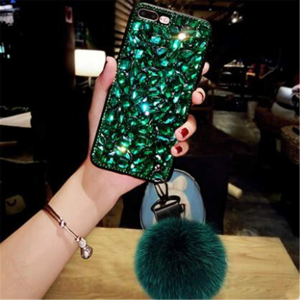 Cfrau Luxury Full Diamond Case with Black Stylus for Samsung Galaxy Note 10 Plus/Note 10 Plus 5G,3D Handmade Stunning Green Stones Rhinestone with Rabbit Furry Plush Ball Sparkle Crystal Case by Cfrau