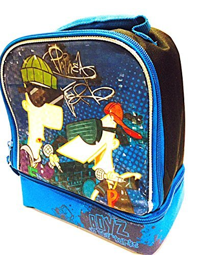 1 X Disney Phineas & Ferb Boyz in the 'Burbs Domed 2-compartment Lunch Bag