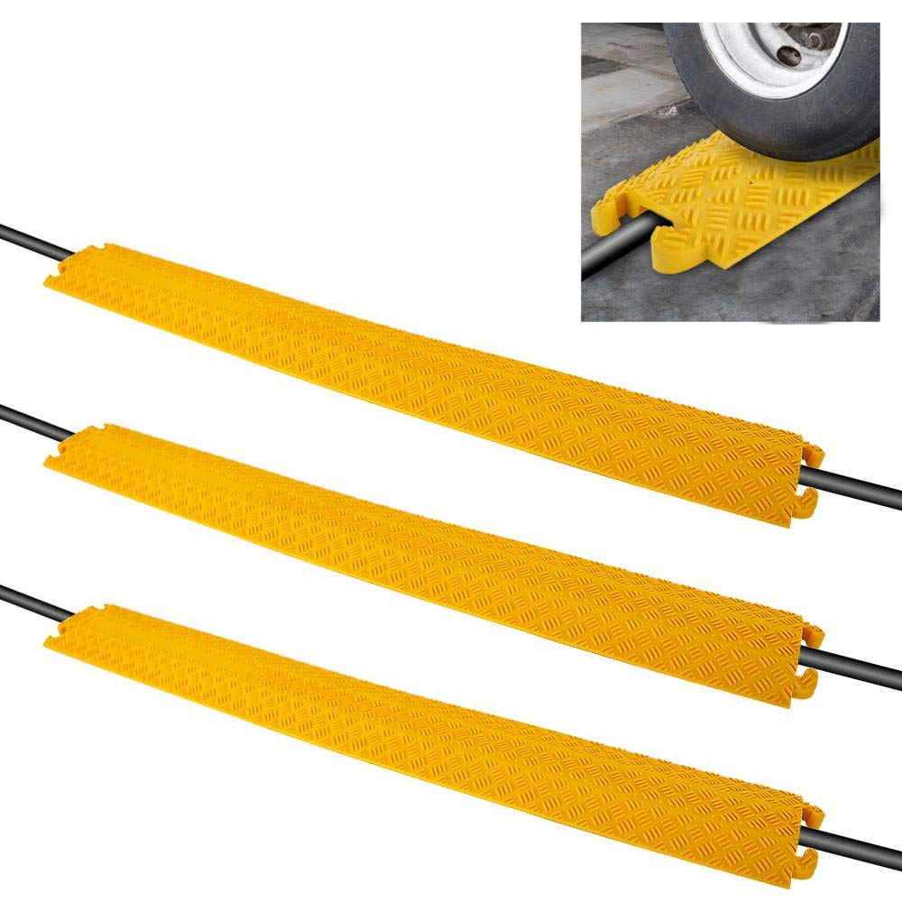 Pyle Durable Cable Protective Ramp Cover, Cable Raceways, Supports 11000lbs Single Channel Heavy Duty Hose and Cord Track Floor Protection, 39.4 x 5.11 x 0.78 Inch Cable Concealer (Set of 3)