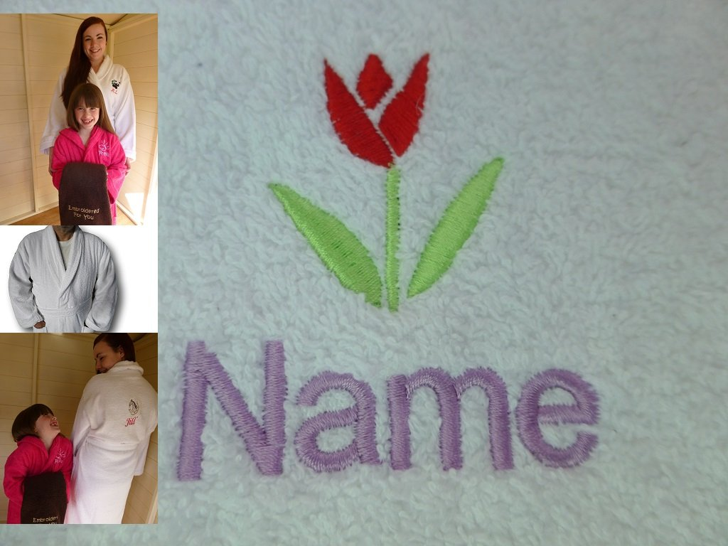 Adult Bath Robe with a TULIP Logo and Name of your choice in White, Size Medium, Large, XLarge or XXLarge (Medium)