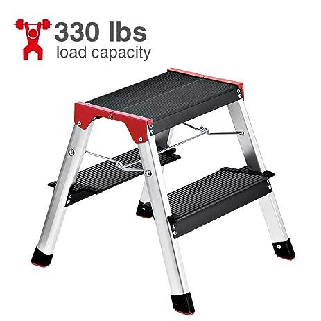 Delxo Lightweight Aluminum 2 Step Ladder RV Ladder Step Stool Folding Step Ladder with Anti-  sc 1 st  Amazon.com & Delxo Lightweight Aluminum 2 Step Ladder RV Ladder Step Stool ... islam-shia.org