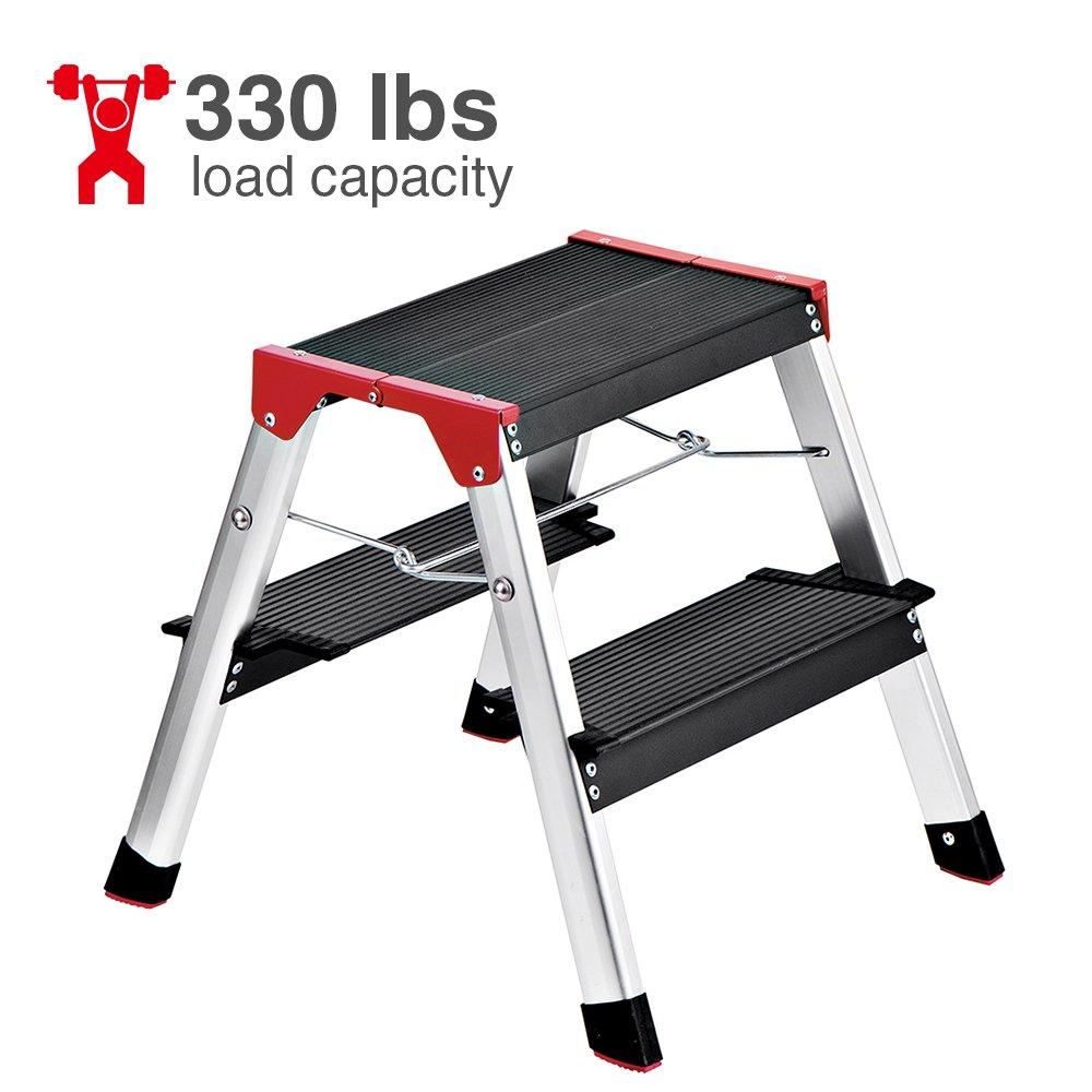 Details About Delxo Lightweight Aluminum 2 Step Ladder RV Ladder Step Stool  Folding Step