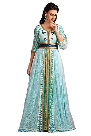 4e65727fb83 Kolkozy Fashion Women's Moroccan Party Wear Thread Work Kaftan Turquoise  Size XS