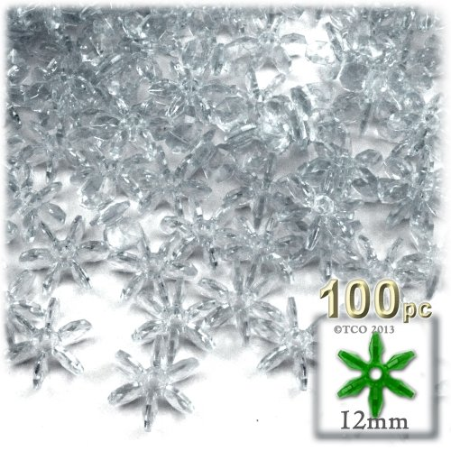 - The Crafts Outlet 100-Piece Round Faceted Plastic Transparent Starflake Beads, 12mm, Clear