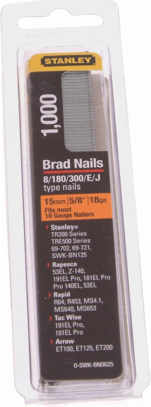 Stanley 0-SWK-BN0625 15mm Brad Nails Pack Of 1000 18 Gauge Type 8 STA0SWKBN062