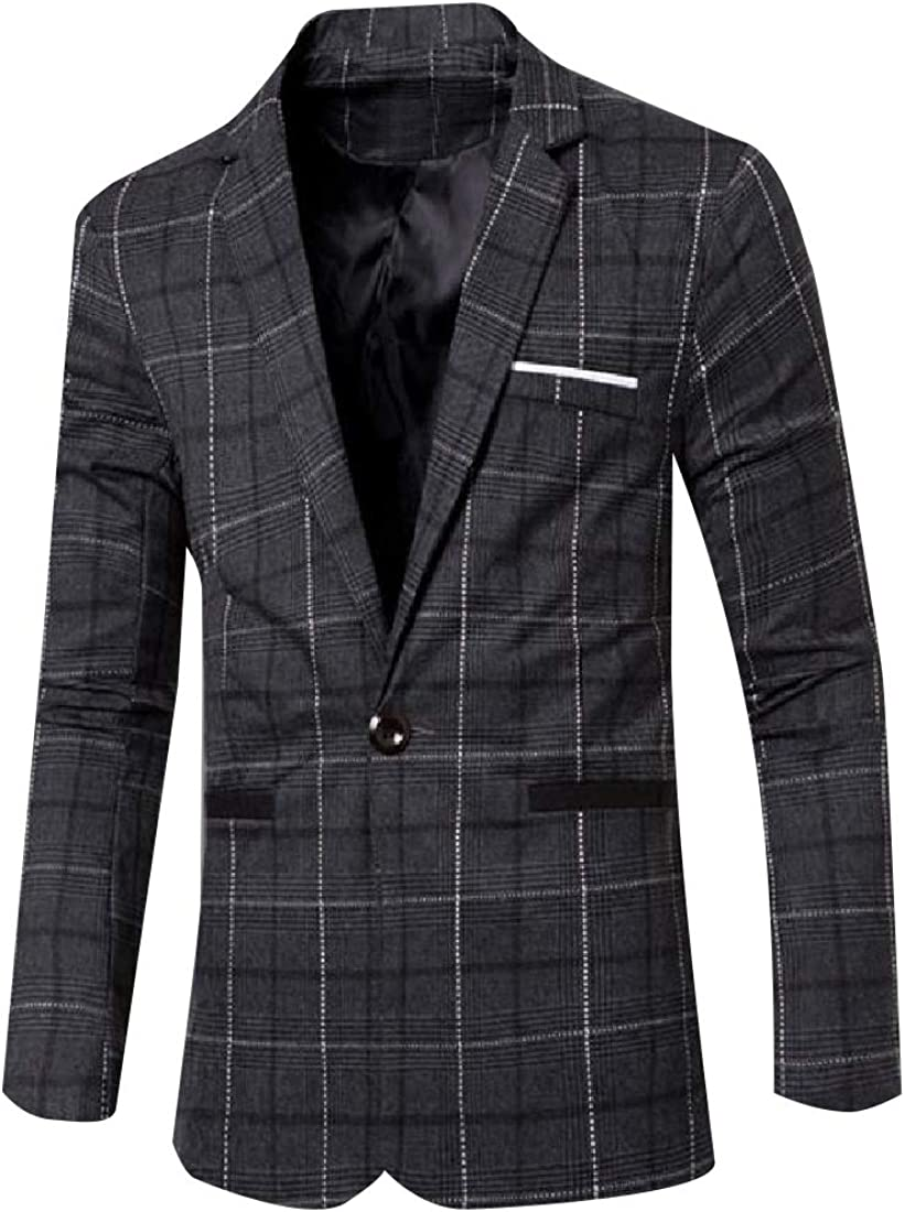 Tootless-Men One Button Regular Tailored Fit Classic Plaid Blazer Jacket
