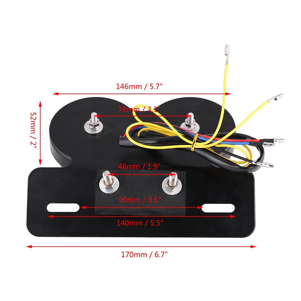 Qiilu moto LED Tail l/ámpara de freno Indicador Intermitente para Custom caf/é RACER luz rojo