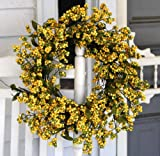 Flora Decor Bountiful Berry Wreath 24'' - Golden Yellow