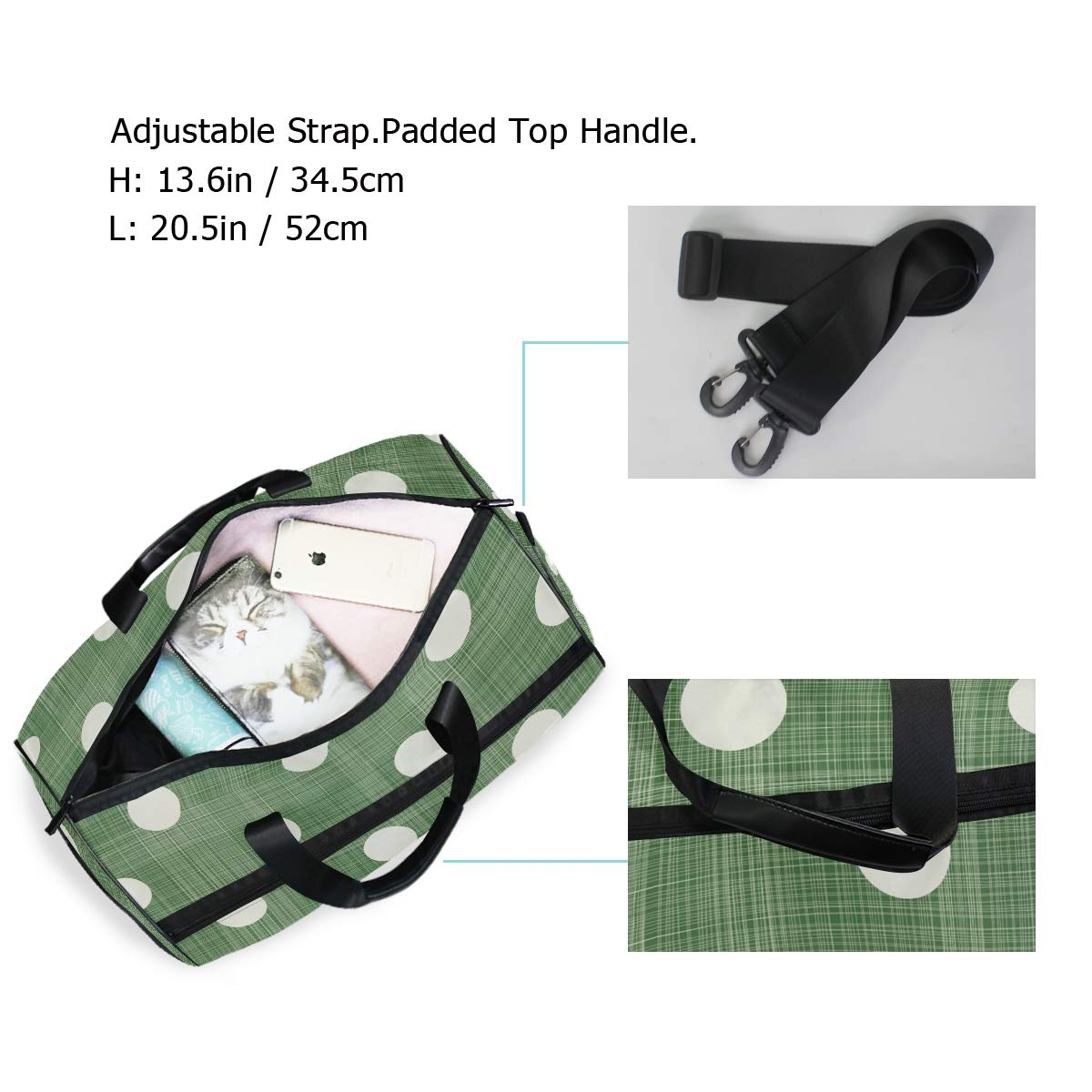 Gym Travel Duffel Bag Polka Dot Green Waterproof Lightweight Luggage bag for Sports Vacation