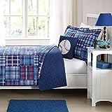 Laura Hart Kids Quilt Mini Set with BONUS Decorative Pillow (Navy Plaid Patch, Full)