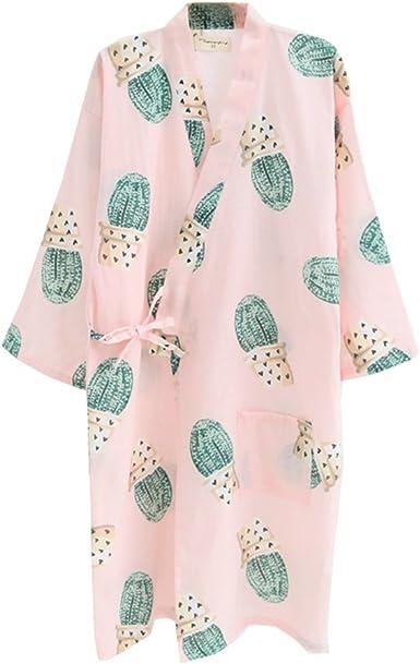 Vestido Camisero de algodón japonés para Mujer Kimono Pijama camisón-Cactus B: Amazon.es: Ropa y accesorios
