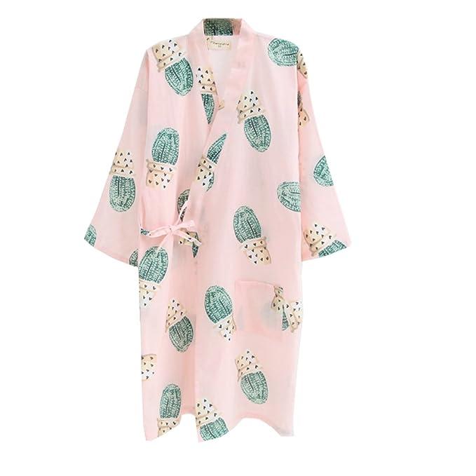 Vestido Camisero de algodón japonés para Mujer Kimono Pijama camisón-Cactus B