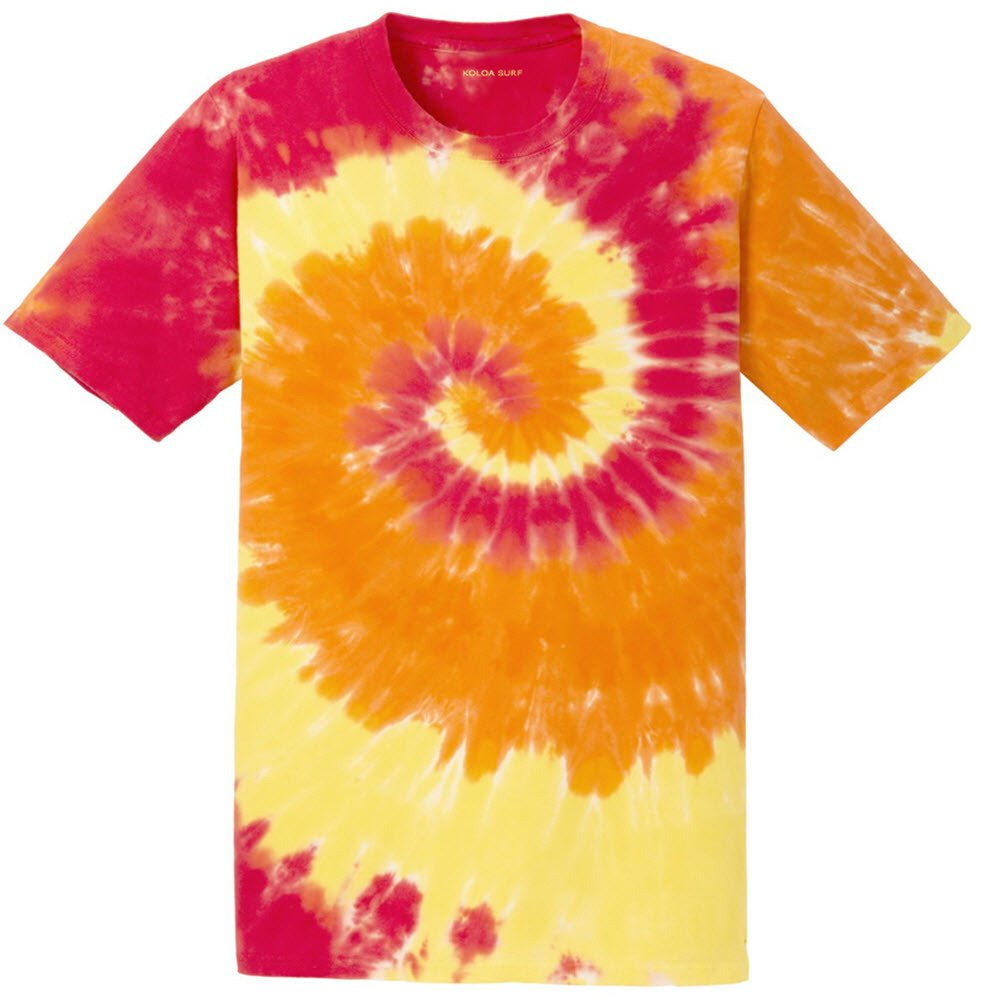 Joe's USA Koloa Surf Co.(tm) Colorful Tie-Dye T-Shirt,L-Blaze Rainbow