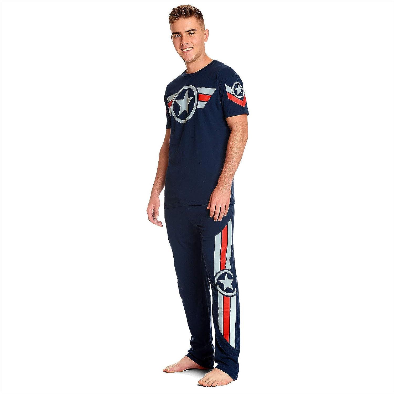 Captain america Herren Pyjama Soldier 2tlg T-Shirt Hose Marvel Elbenwald Baumwolle blau