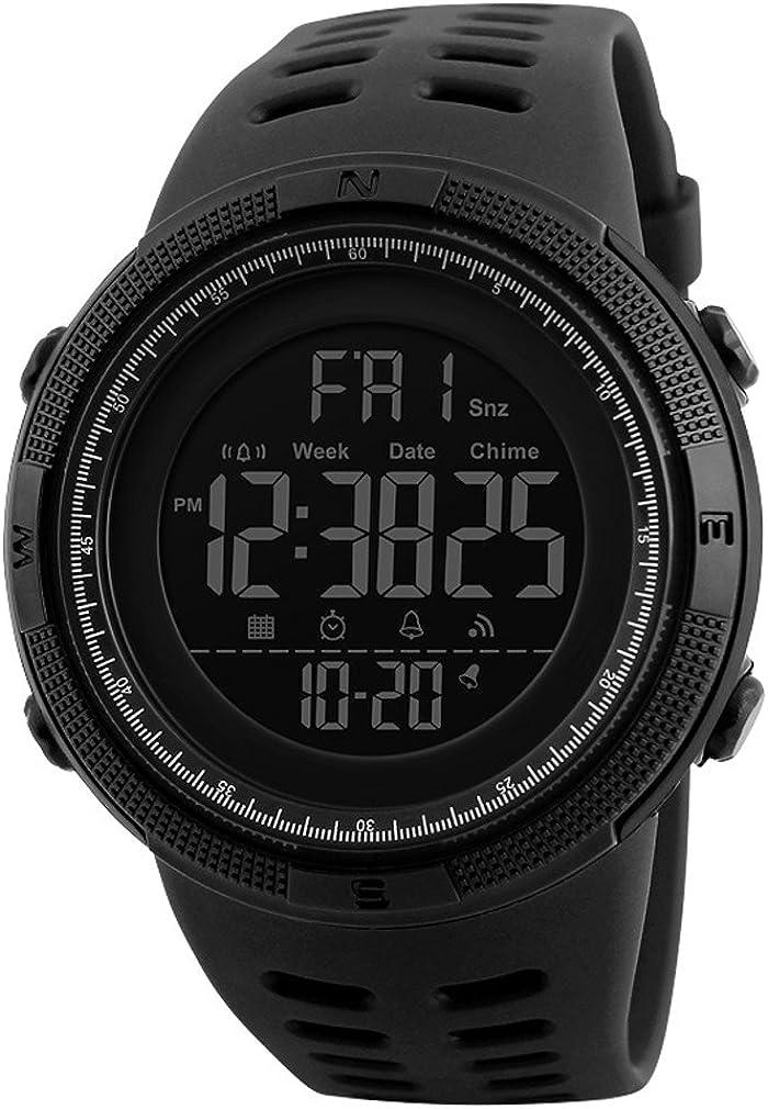 Reloj digital de pulsera Coolans para hombre, de estilo deportivo, diseño casual, impermeable 5 ATM, luz LED de fondo y con cronómetro