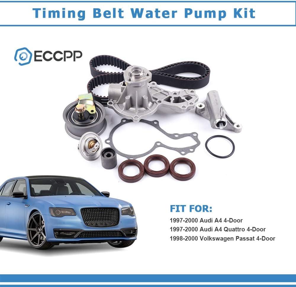 Timing Belt Water Pump Kit,ECCPP Automotive Replacement Timing Parts For 1997-2000 Audi A4 A4 Quattro 1.8L 1998-1999 Volkswagen Passat 1.8L L4 DOHC 2000 Volkswagen Passat AEB Eng.