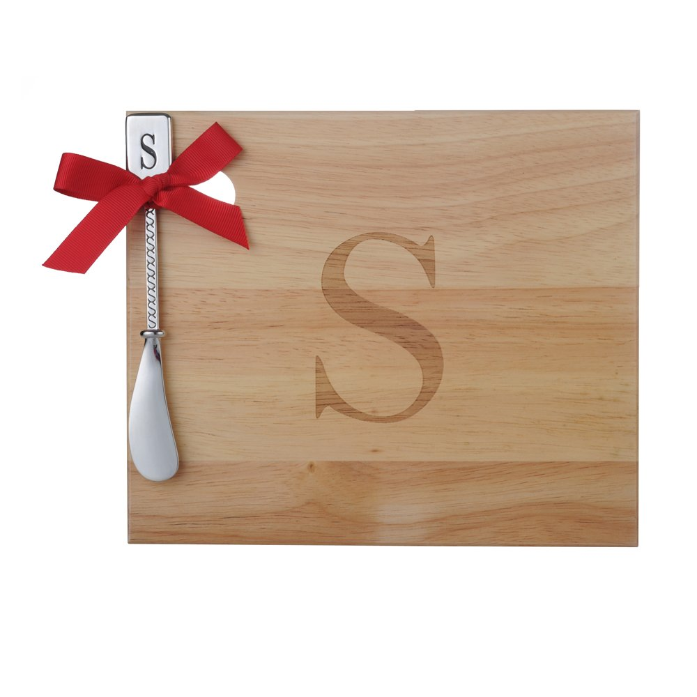 Monogram Oak Wood Cheese Board With Spreader,S-Initial (S)