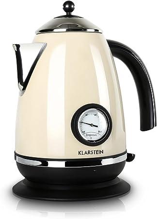 Klarstein Aquavita Chalet bouilloire, théière, rétro, 1,7 litres, 2200 watts, sans fil, affichage vintage de la température, poignée cool touch,