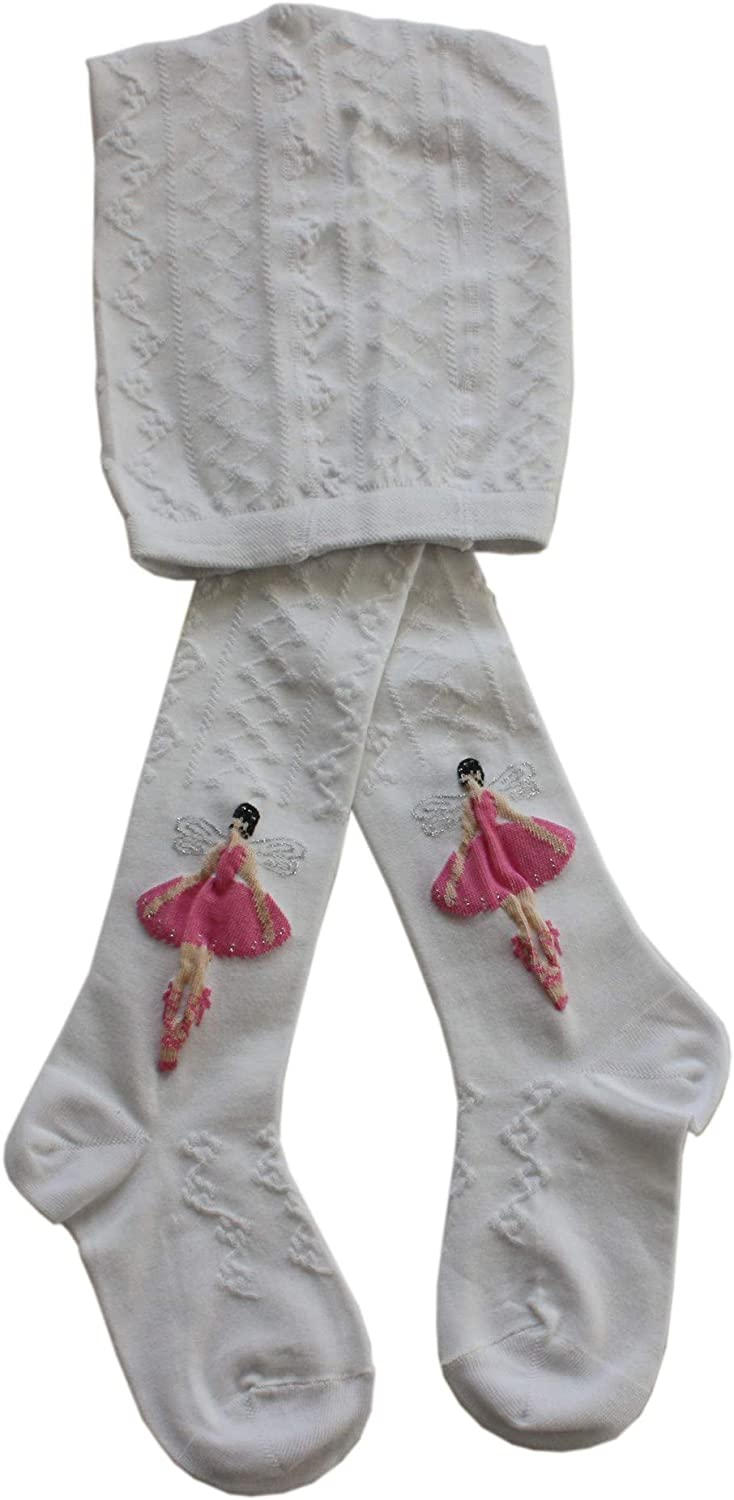 Weri Spezials Baby and Children Tights with Lurex Color:White,Dancing Fairy