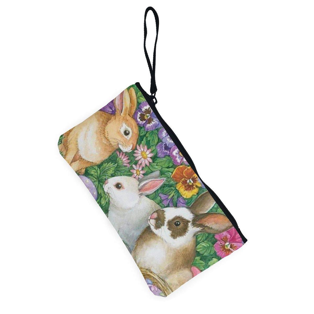 Canvas Cash Coin Purse,Spring Easter Flower Print Make Up Bag Zipper Small Purse Wallets