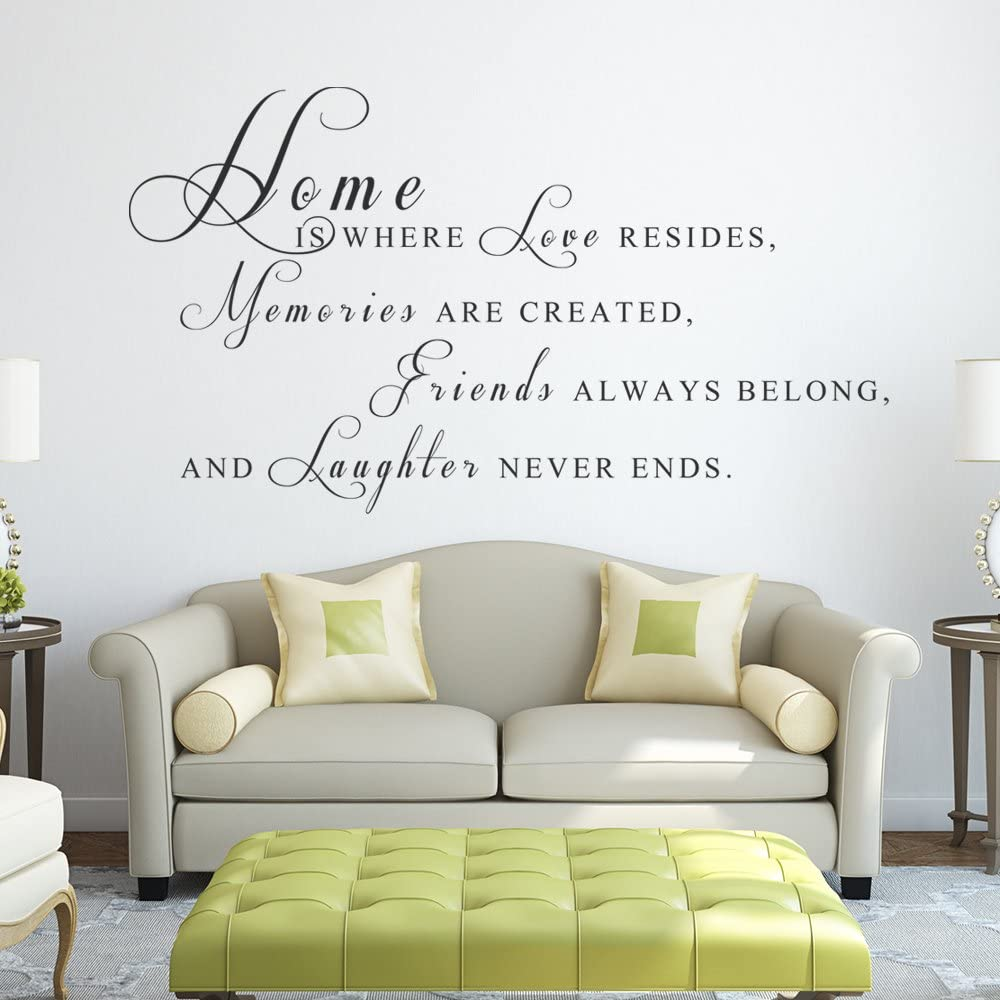 """Home Is Where Love Resides Vinyl Decal Quotes Wall Sticker Wall Art Wall Decals Wall Quote (58x28"""" Black)"""