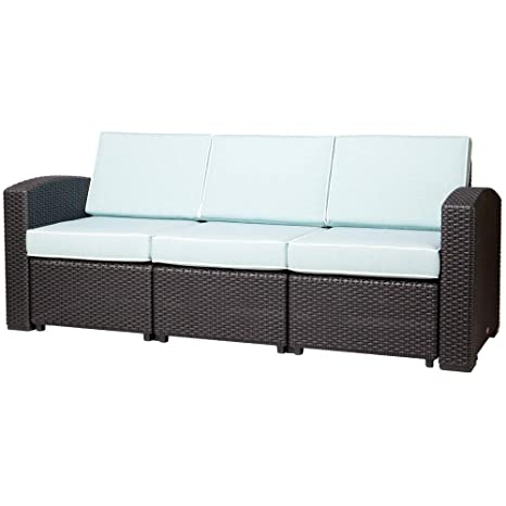 Amazon.com: Lagoon Magnolia Black_Rattan Sofa W/Blue Cushion ...