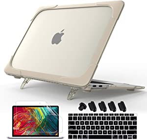 Mektron [Heavy Duty Series Hard Plastic & TPU Shell Protective Cover Matte Kickstand Case for MacBook Air 13 inch Case 2020 2019 2018 Release A1932 A2179 (Khaki)