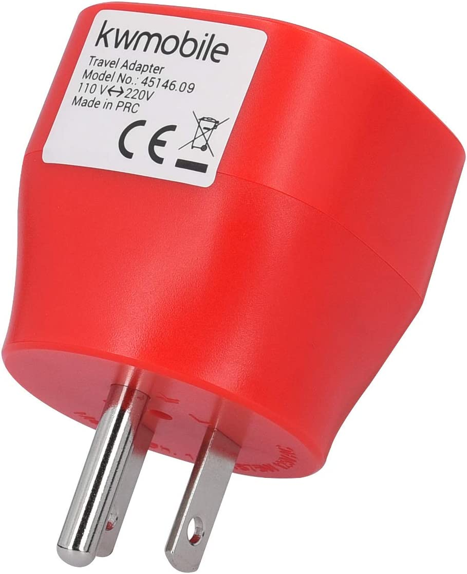 Adaptadores de Enchufe schuko Travel Adapter Rojo kwmobile 2X Adaptador de Viaje para EEUU Tipo B Conector para enchufes de USA Jap/ón Tailandia