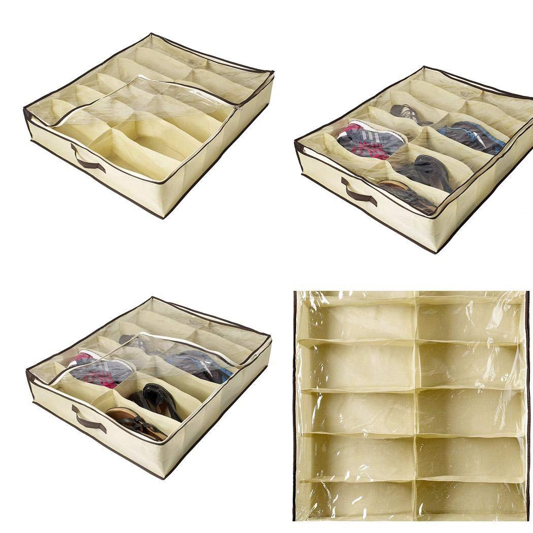 67 x 56 x 15 cm Voiks 12 Paar Unterbettschuh-Organizer Aufbewahrungsbox mit Rei/ßverschluss vorne