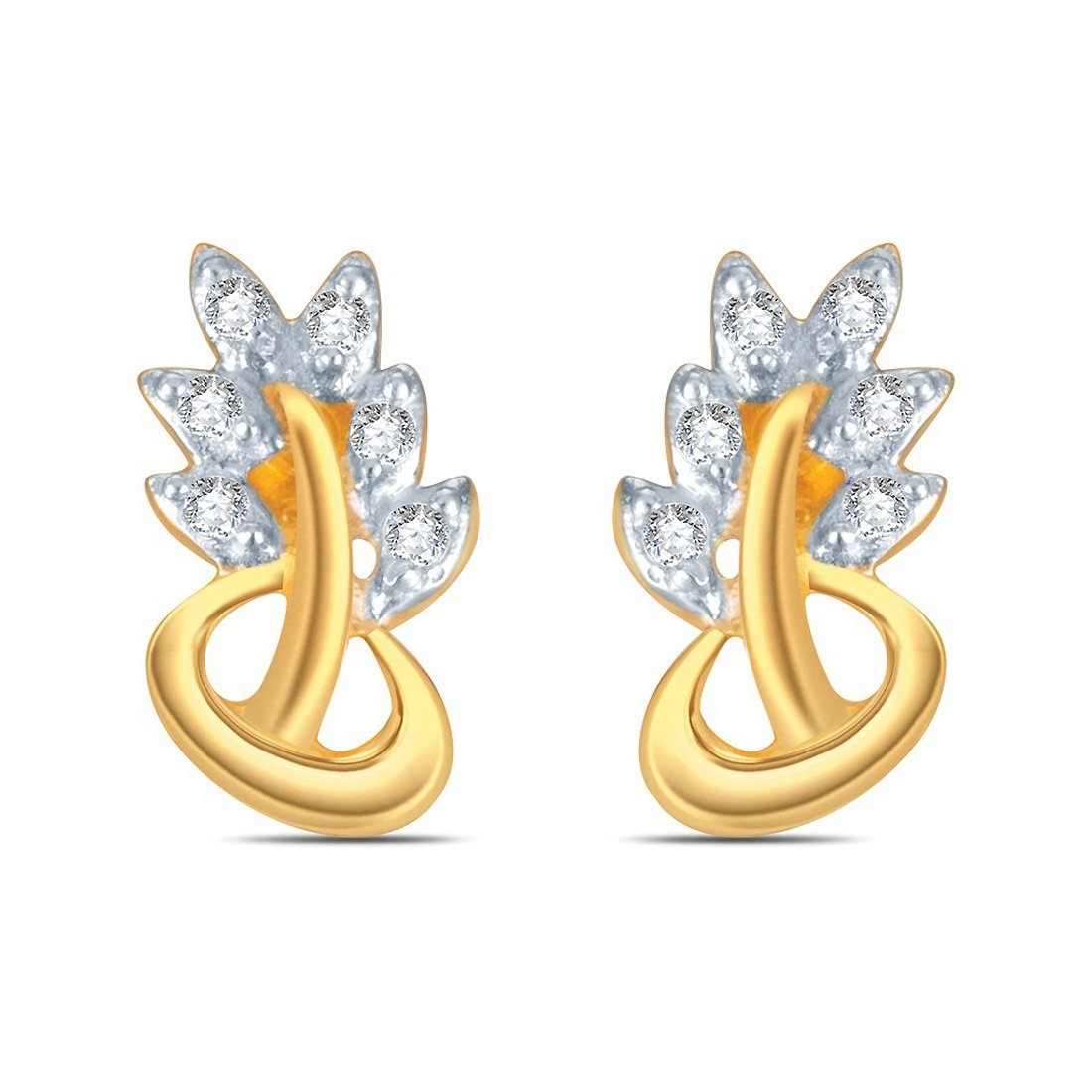 0.10 Ct Round White Cubic Zirconia Leaf Style Stud Earrings for Womens Girls in 14k Yellow Gold Over