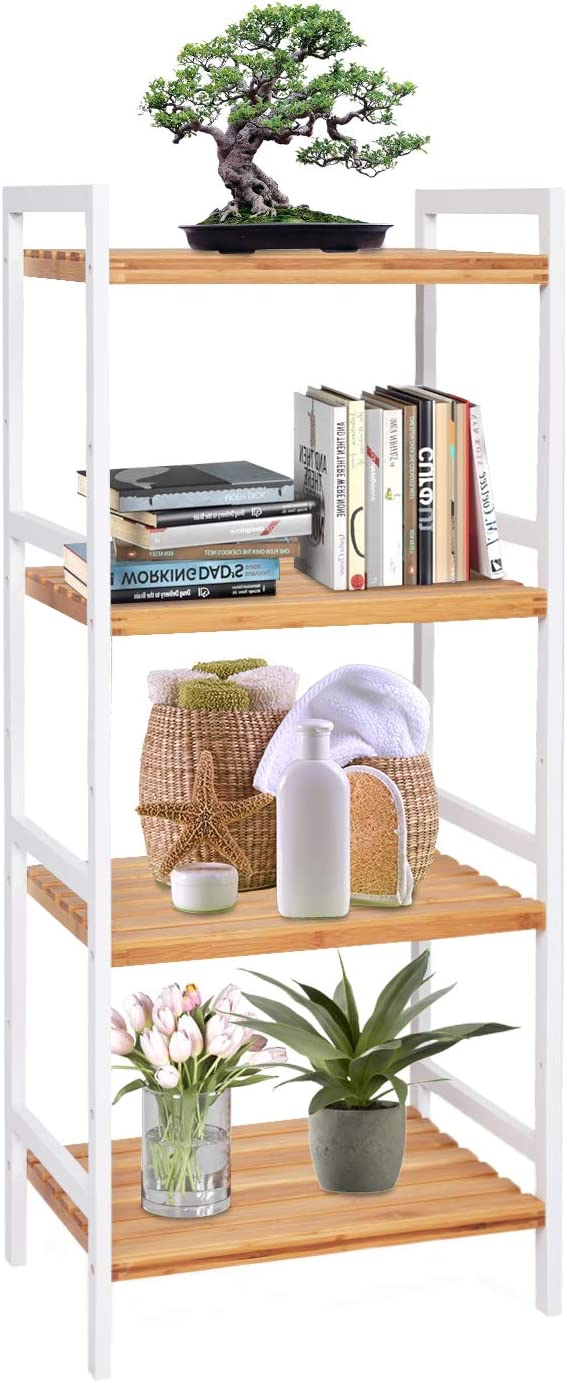 kinbor 4-Tier Bamboo Utility Shelf Home Furniture Bathroom Shelf Storage Unit Freestanding Plant Stand with Adjustable Shelf