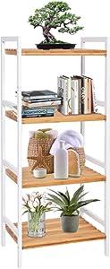 kinbor 4-Tier Bamboo Utility Shelf Home Furniture Bathroom Shelf Storage Unit Freestanding Plant Stand with Adjustable Shelf