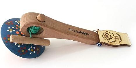 Mamatoyz - Spinning, Gran Peonza de Madera Natural de Colores para ...