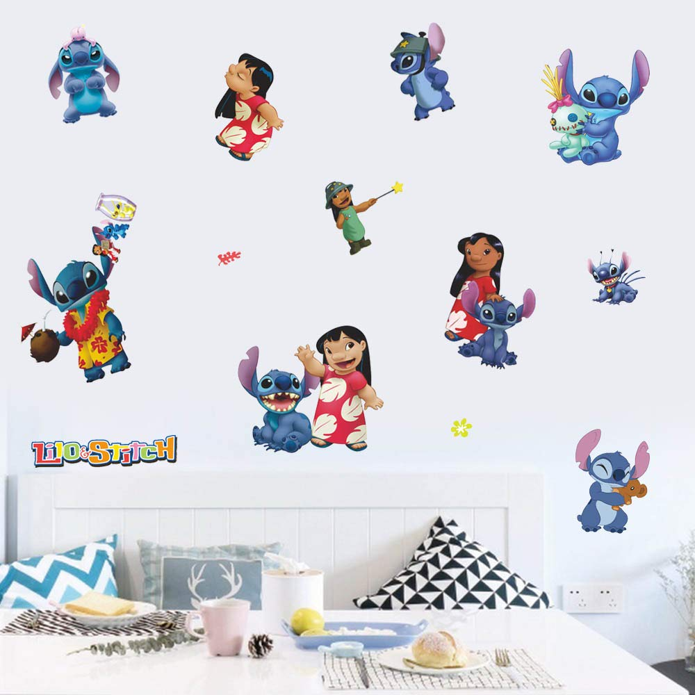 FANGLIAN Cartoon Comic Wall Decal Cute Lilo and Stitch Wall Sticker Lively and Interesting Peel & Stick Wall Decorative for Baby's & Kids Room, Nursery and Home Decor Decals Murals Size(45cmx60cm)