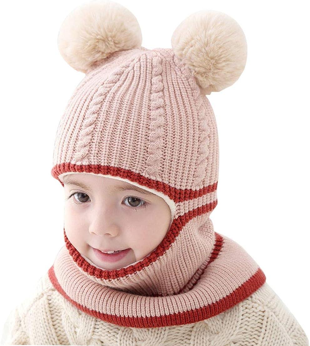 JIAHFR Bonnet Hiver Cagoule Enfant B/éb/é Bonnet Cache Oreilles Chapeau Laine Tricot/é Cache Cou Ensemble Bonnet Echarpe Cagoule Hiver Gar/çon Fille Bonnet Cartoon pour b/éb/é de 6-36mois