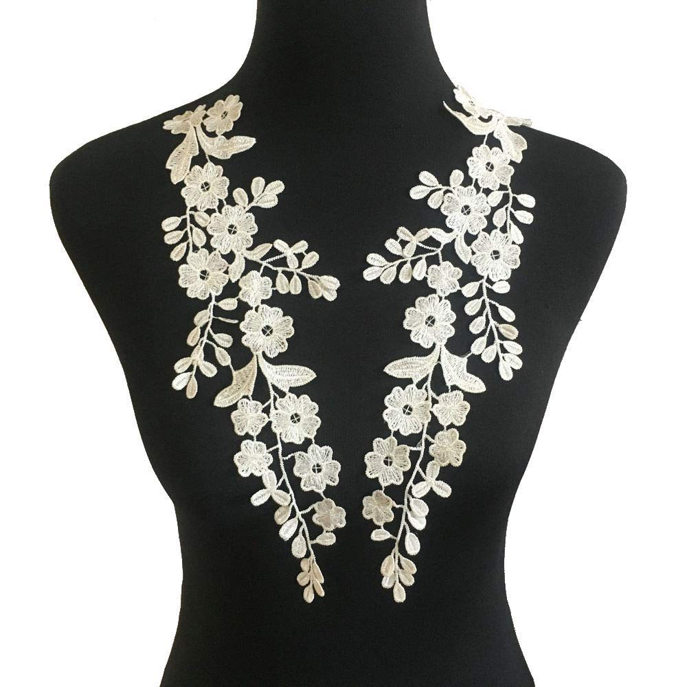 1 Pair Embroidery Applique Wedding Lace Floral Motif Sewing Trims Decoration White D