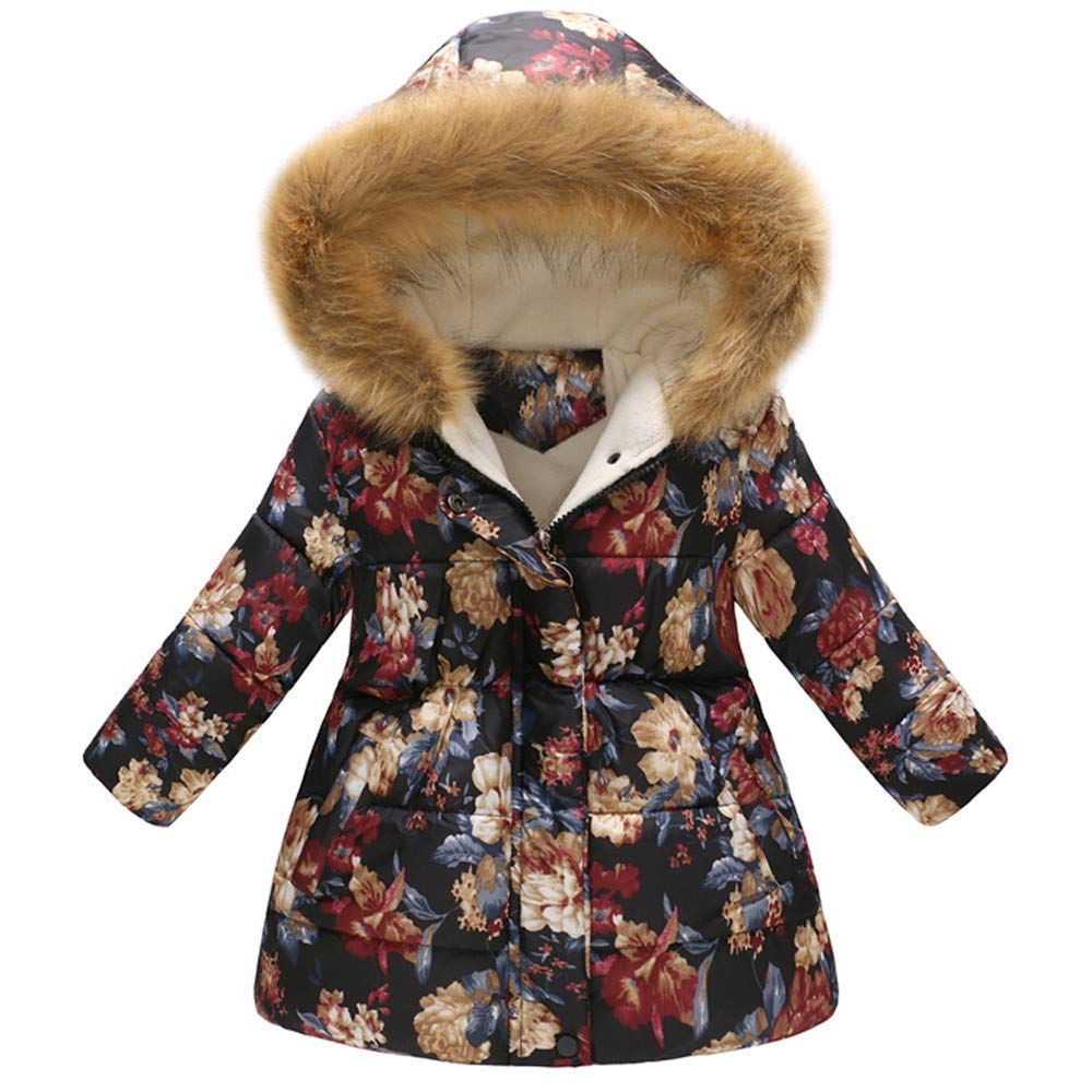 Hooded Windproof Coat,Toddler Baby Girls Boys Winter Floral Thick Warm Jacket