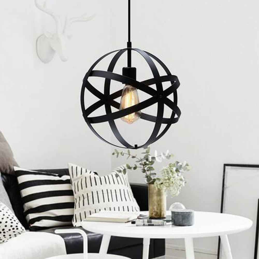 Pauwer Industrial Spherical Pendant Light Vintage Sphere Chandelier Lighting Glob Hanging Light Fixtures (Black B) by Pauwer (Image #3)