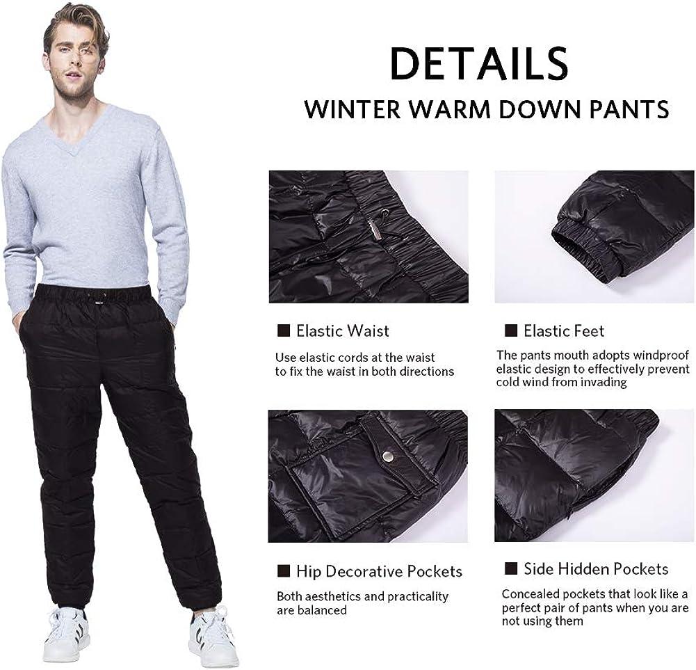 Tapasimme Mens Women Winter Warm Utility Down Pants Sassy High Waisted Nylon Compression Snow Trousers