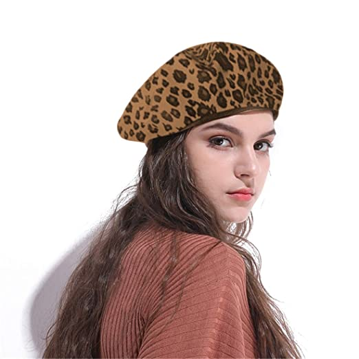 814b72e53eb41 Amazon.com  Jewelry-Box Fashion Lady Leopard Print Beret Hat Wool Warm  Plain Beanie Hat Cap  Clothing