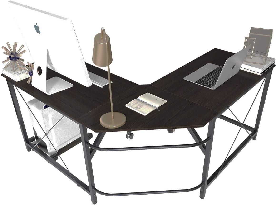 Soges L Shaped Desk Corner Computer Desk Gaming Table Office Workstation Desk, Black LD-Z01BK